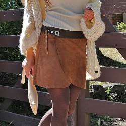 Franged vest caramel
